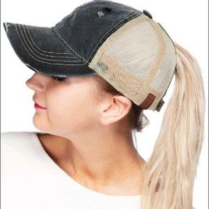 Black Ponytail Hat Distressed Black